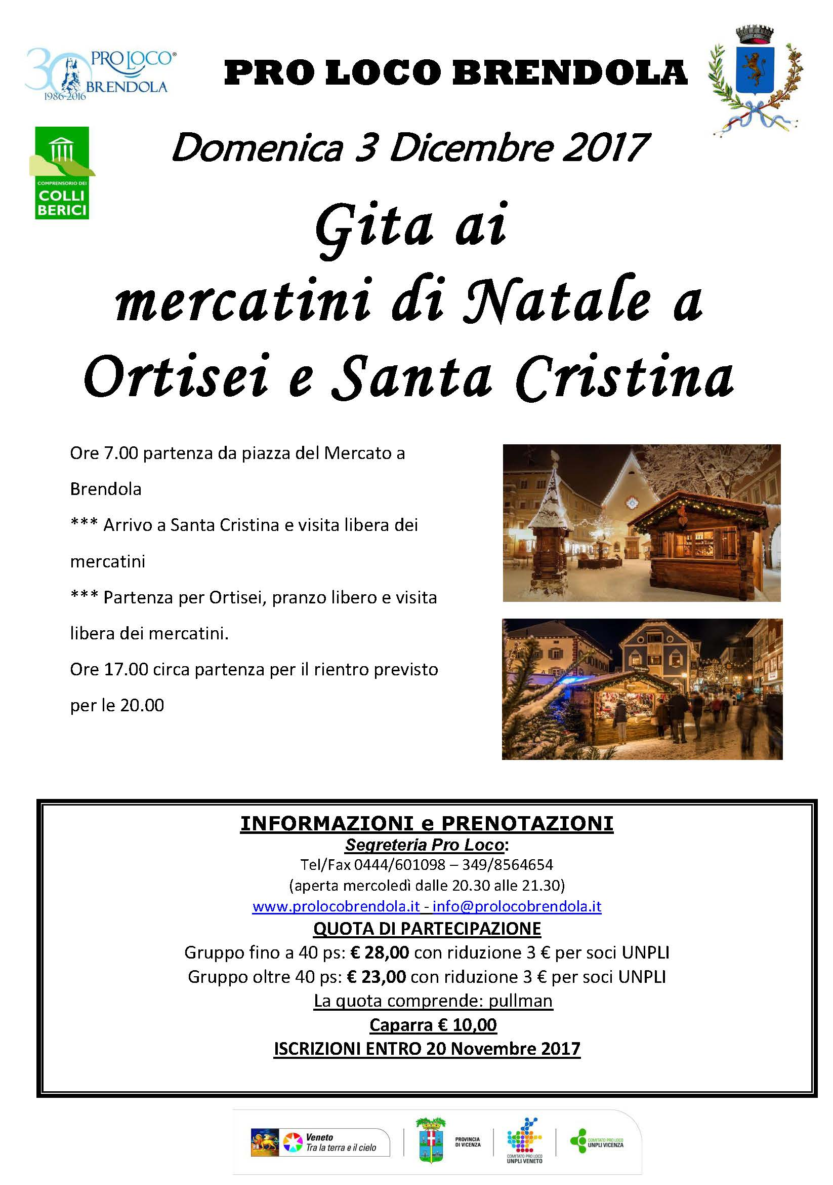 Gita Mercatini di Natale Ortisei e Santa Cristina , 03-12-17