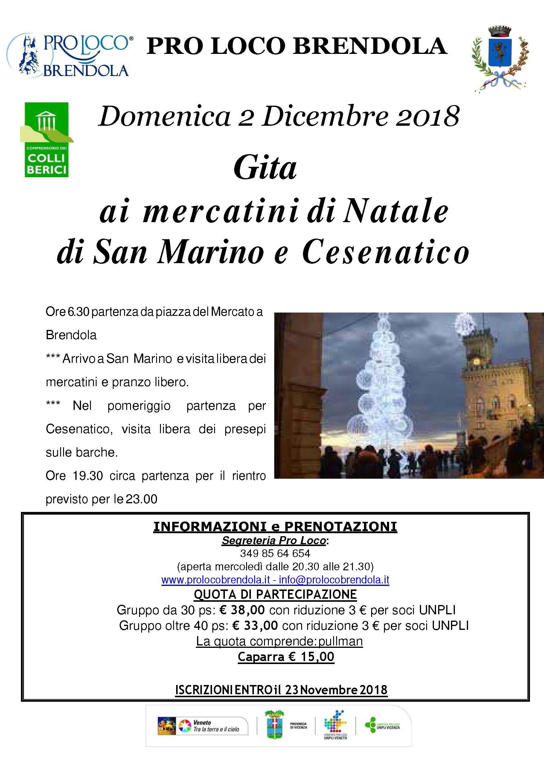 2018.12.02, GITA a MERCATINI di S.MARINO E CESENATICO